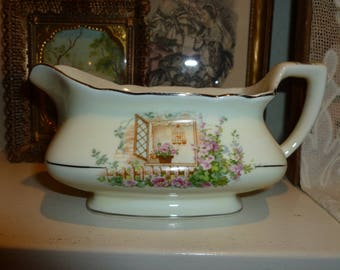 Sweet Vintage Gravy Boat With Window And Floral Design