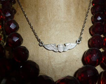 Sterling silver Wing Necklace 17 Inch Long Chain