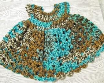 Crochet Infant Dress, Child's Dress, 3-6 months, Baby Shower Gift, Girl Birthday Gift, Teal Summer Dress, Sundress,