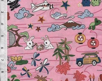 "P & B Textiles ""Tomodachi"" Sumari Japenese Nintendo Pink Fabric"