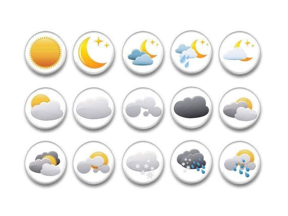 Weather Refrigerator Magnets - Kid's Party Favors - Bulletin Board Magnets - Classroom Magnets - Gifts kids - Magnetic Chalkboard