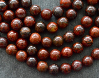 8mm Red Brecciated Jasper Stone Beads Gemstone Beads Round Red Stone Beads (10 beads) Natural Jasper Beads