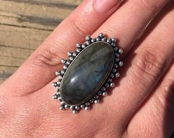 Large Vintage Natural Labradorite Sterling Silver Statement Ring Blue Flash Large Knuckle Ring Fine Silver Cabochon Ring