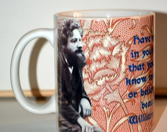 William Morris design mug with quotation about beauty and function.