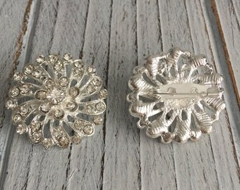 Silver Rhinestone Floral Brooch - 1 piece
