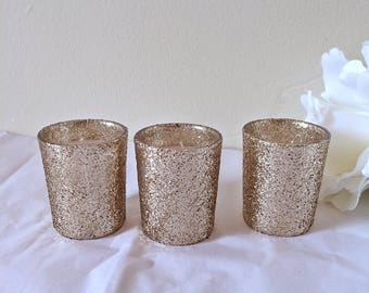 Ready to Ship, 32 Champagne Gold candles, votive candle holders, centerpieces, table centerpieces, wedding centerpieces, wedding decorations
