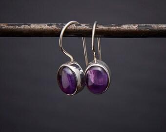 Amethyst Drop Earrings, Silver and Amethyst Earrings, February Birthstone, Oval Earrings, Cabochon Amethyst, Sterling Silver