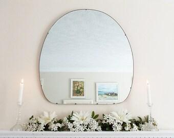 Large Modernist Mirror Mid-Century Mirror Art Deco mirror frameless mirror Bevelled edge beveled mirror  M191