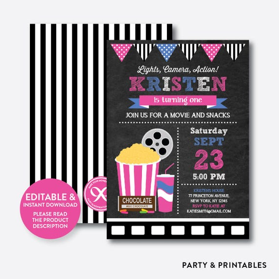 instant download editable movie birthday invitation movie