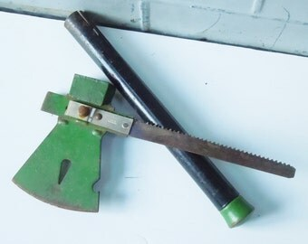 Vintage Multi-Tool / Ax, Wedge, Nail Puller,Bottle Opener and a Saw Blade in the handle