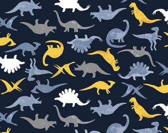 Navy Dinosaurs Fabric Yardage