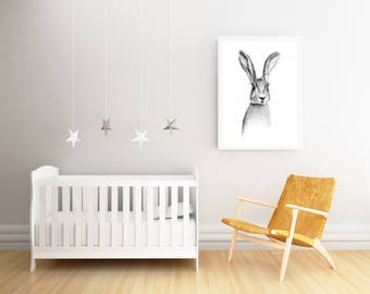 large wall art, rabbit print, nursery poster, woodland nursery, woodland baby shower, large art print, bunny print, bunny art print