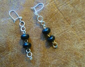 Onyx silver wire handmade earrings