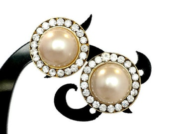 Small Round Faux Pearl And Rhinestone Earrings For Pierced Ears, Pearl Earrings, Rhinestone Earrings, Small Earrings, Faux pearl Jewelry