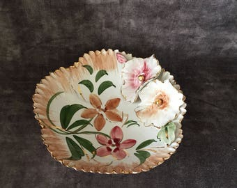Vintage handmade dish Italy shades of pink shabby chic floral
