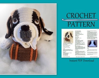 Saint Bernard Blankie Crochet Pattern - With Barrel  // Instant PDF Download //DIY // Baby gift // Photo prop// Make your own // Snuggly