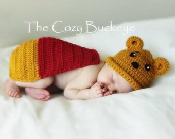 Instant Download Crochet Pattern - Winnie the Pooh Hat & Cape Set - Newborn Prop - Disney Character