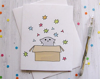 Cute Cat Card Any Occasion Card Cute Greeting Card Confetti Kitten Cat in a Box Just Because Card Thinking of You Note Funny Cat New Pet