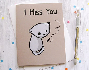 Missing You Cat Greeting Card Funny Greeting Card Cute Note Anytime Card Silly Cat Lover Boyfriend Girlfriend Any Occasion Blank Card