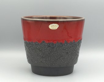 Jopeko Planter dark glossy red with black Fat Lava glaze  West Germany Pottery.  WGP