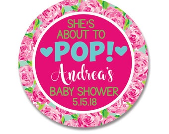 Personalized Baby Shower Stickers, Shes About to Pop, Baby Shower Gift Labels, Lilly Baby Shower
