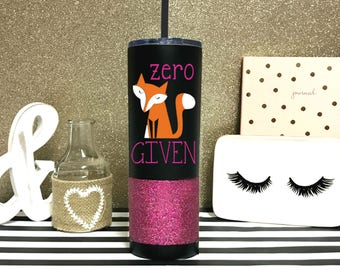 Zero Fox Given Tumbler - Stainless Steel To Go Cup - funny fox tumbler - 20 oz Vacuum Insulated Straw Cup - fox travel Cup - Water Bottle