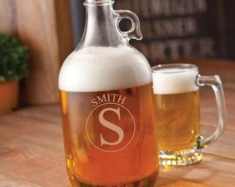 Monogrammed Glass Beer Growler - Monogrammed Beer Growler - 64 oz. Beer Growler - Gifts for Him - GC1467