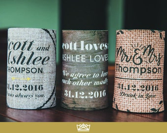 Personalised Stubby Holders Coolers // Wedding Favour Gift Bomboniere // Design + Print by Infinite Eleven Designs