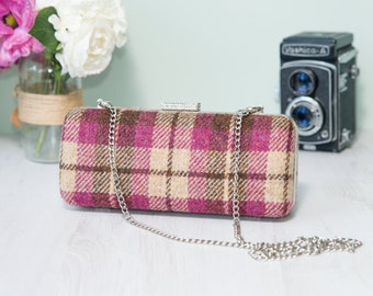 Harris Tweed clamshell Minaudiere clutch purse with chain in beige, brown and mulberry tartan with floral cotton lining. Handmade in the UK