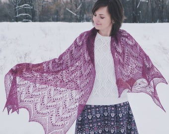 Beautiful hand knit lace shawl, wedding luxury kidsilk lace bridal shawl, knitting Estonian Lace shawl, knit shawl with nupps pattern