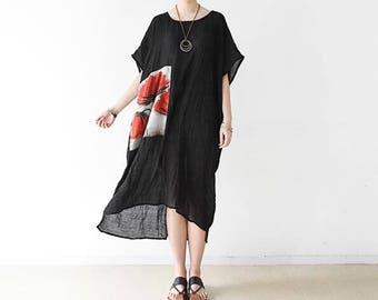 Loose, fat XL, cotton, asymmetric dress