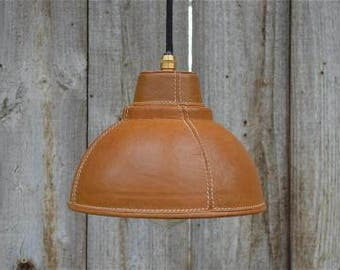 Stylish real brown leather hand stitched hide pendant light E27 bulb holder