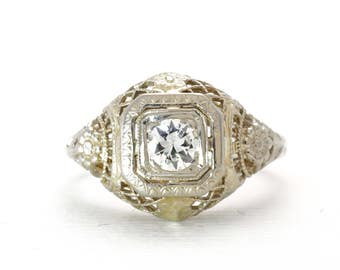 Art Deco Engagement Ring | Diamond | Old European Cut | White Gold