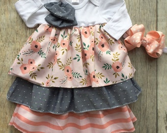Baby girl gown, ruffle gown, pink poppy and stripes, baby shower gift, church gown, hospital gown, take home outfit, easter dress