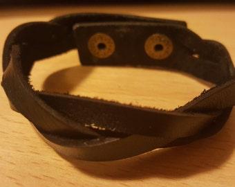 Leather Bracelet, Leather Woven Bracelet, Leather Braid Bracelet, Men's leather gift # 004