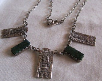 Green Stone and Silver Necklace from Peru