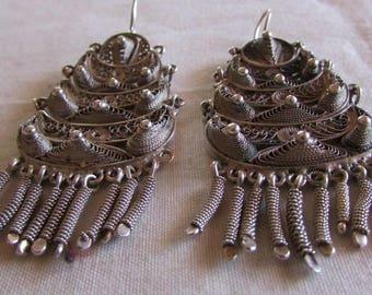 Large Sterling Silver Filigree Dangle Wire Earrings