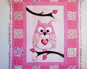 Baby Girl Quilt, Owl Quilt, Made to Order, Pink Patchwork Quilt, New Baby Blanket, Girls Crib Quilt, Baby Nursery Bedding, Babyshower Gift,