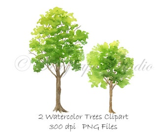Watercolor Trees Clipart, PNG Instant Download, Hand Painted Spring Trees Clip Art, 2 Individual PNG Files