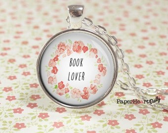 Book Lover Necklace - Reader Necklace - Jewelry for Reader - Bookworm Necklace -  (B6505)