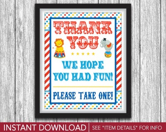 "Circus Party Favor Sign • Printable Circus Birthday Party Decorations • 8""x10"" Carnival Sign • DIY Digital File"