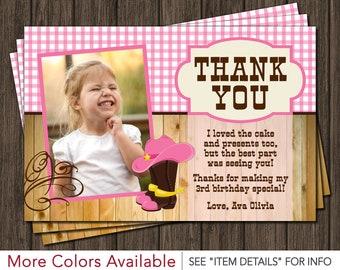 Cowgirl Thank You Card - Cowgirl Western Birthday Thank You Card