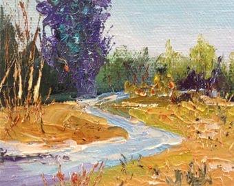 Purple Tree, River Painting, Small Art, Tiny painting