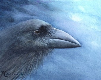 """Hawaiian Crow 'Alala watercolor  print 5"""" X 7"""""""