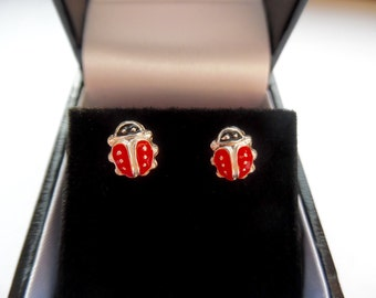 Ladybird Earrings - Sterling Silver and Enamel - Free Delivery & Gift Box - stylish - unqiue