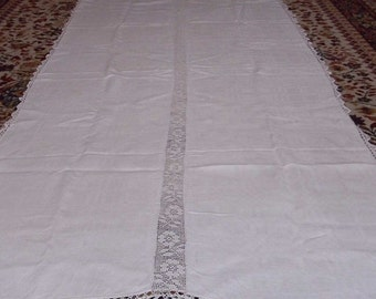 Vintage homespun tablecloth from Russia, linseed. with lace