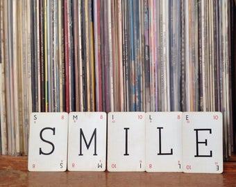 Smile - Vintage Kan-u-go cross word game cards - paper ephema - home decor letters