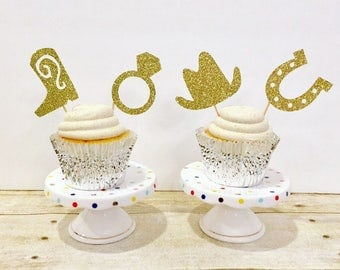 Gettin Hitched Glitter Cupcake Toppers / Bridal Shower / Engagement Party / Set of 12