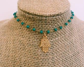 Turquoise Hamsa Necklace