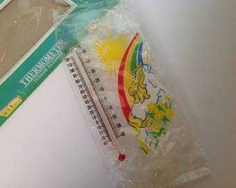 Retro unicorn thermometer, NOS unicorn thermometer, 1980's unicorn, retro rainbow thermometer, wall thermometer, window thermometer, new